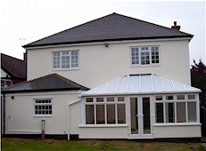 Rear of house and a conservatory