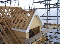 Dormer with scaffolding