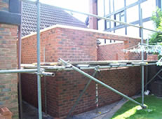 Garage part built brickwork